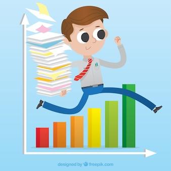 Zakenman met documenten springen een grafiek
