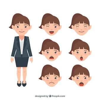 Zakenvrouw karakter met een collectie van expressieve gezichten