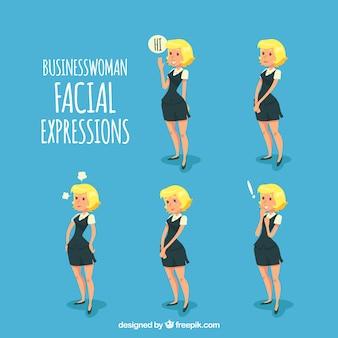 Zakenvrouw karakter met gezichtsuitdrukkingen