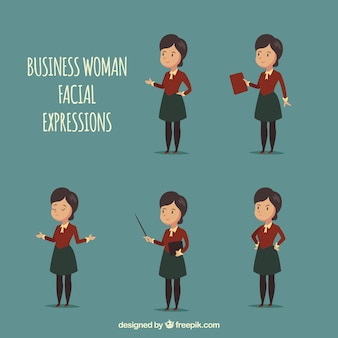 Zakenvrouw karakter met vijf verschillende gezichtsuitdrukkingen