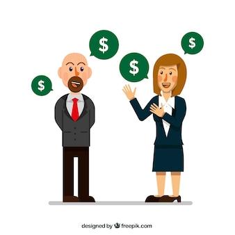 Zakenvrouw praten over geld met haar baas
