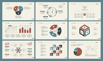 Zes Statistiek Slide Templates Set