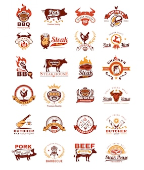 Zet grill en barbecue badges, stickers, emblemen
