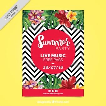 Zig-zag lijnen met waterverf bloemen party flyer