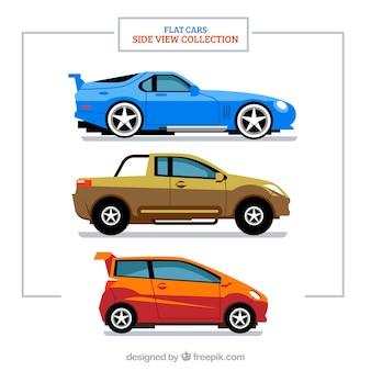 Zijaanzicht van moderne realistische auto's