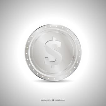 Zilveren geïsoleerde muntstuk