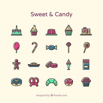 Zoet en snoep iconen