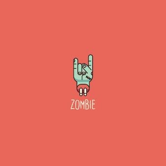 Zombie-logo op een rode achtergrond