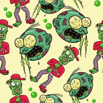 Zombie Pattern Design voor Halloween Feest