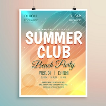 Zomer beach party banner flyer template design