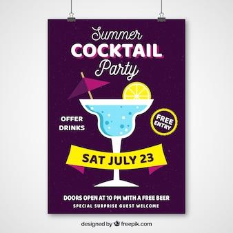 Zomerfeest poster met cocktail