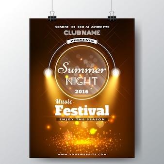 Zomers muziekfestival poster