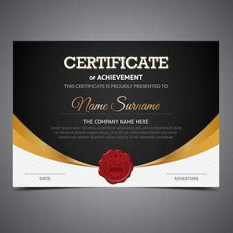 Zwart en goud certificaat van prestatie