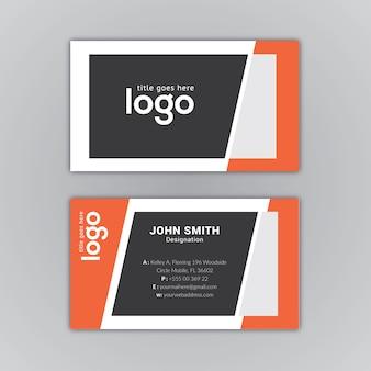 Zwart en oranje visitekaartje ontwerp