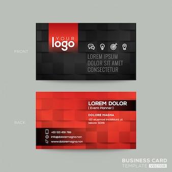 Zwart en rood adreskaartje met achtergrond van het tegelpatroon