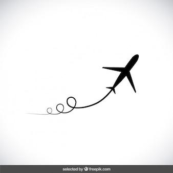 Zwart vliegend vliegtuig