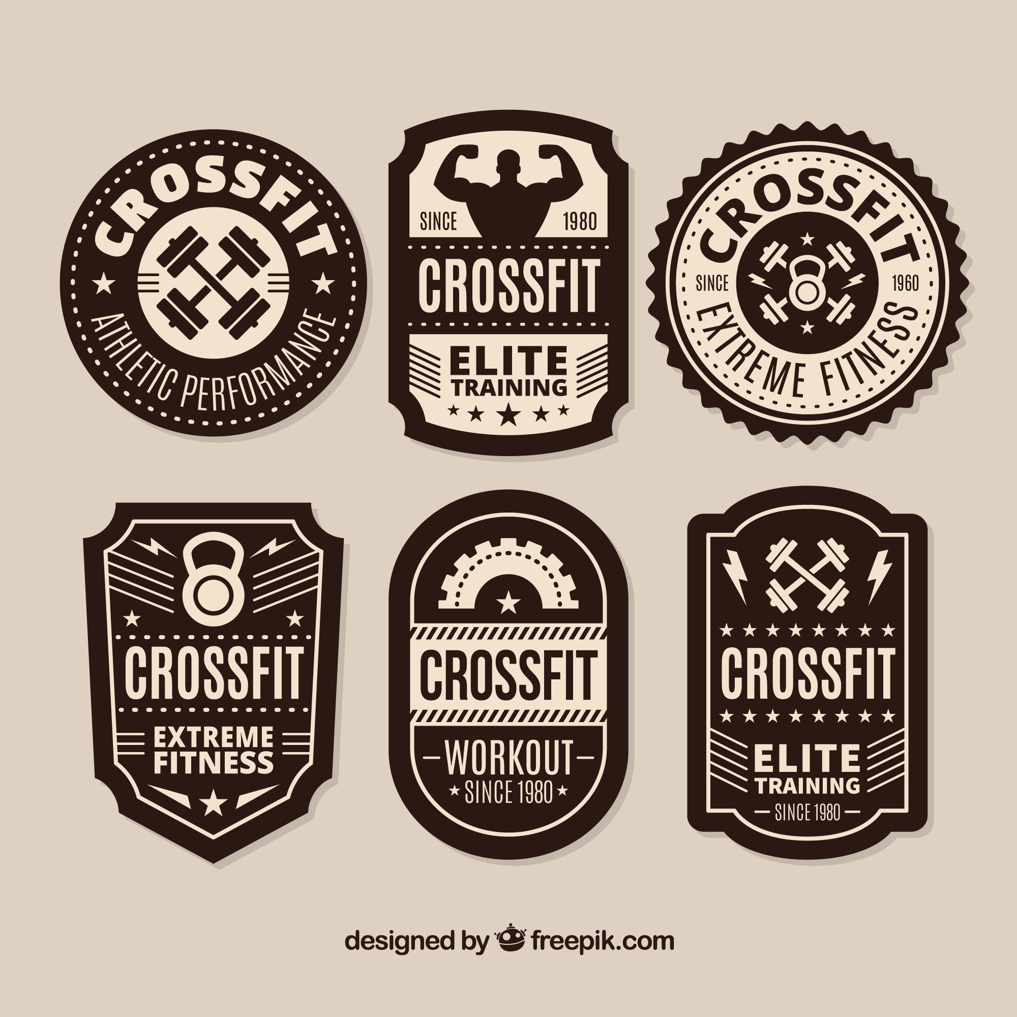 Zwart-wit CrossFit lable collectie