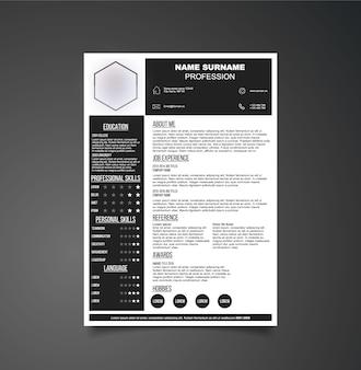 Zwart-wit CV-sjabloon