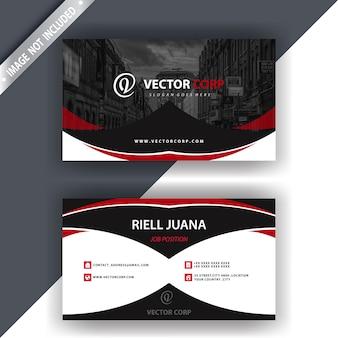 Zwart-wit visitekaartje met rode details