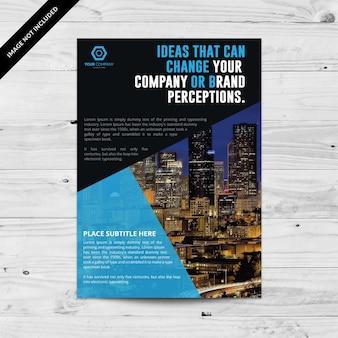 Zwarte en blauwe zakelijke brochure