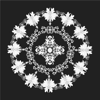 Zwarte en witte mandala achtergrond ontwerp