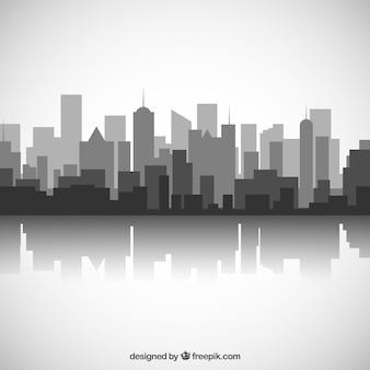 Zwarte en witte skyline van de stad