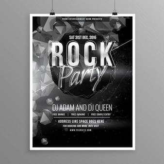 Zwarte rots muziek partij flyer poster template