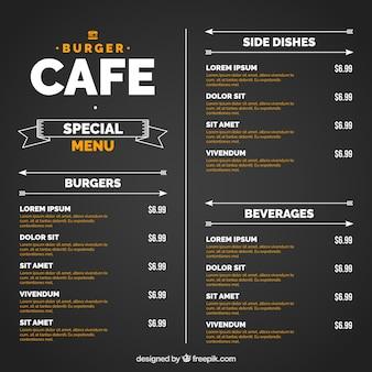Zwarte sjabloon met oranje en wit burger menu