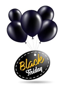 Zwarte Vrijdag Banner Sjabloon Met Zwarte Ballons