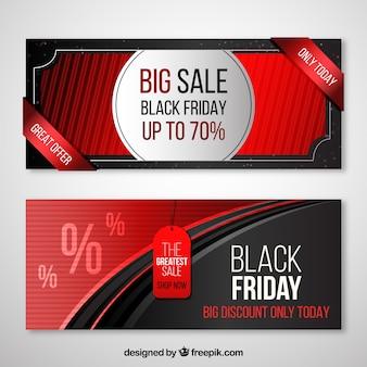 Zwarte vrijdag banners met rood ontwerp