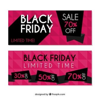 Zwarte vrijdag banners met roze ontwerp