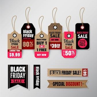 Zwarte vrijdag verkoop tag lintbanners