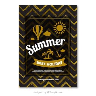 Zwarte zomerkaart met gouden elementen