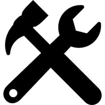 Narzędzia krzyż symbol interfejs ustawień