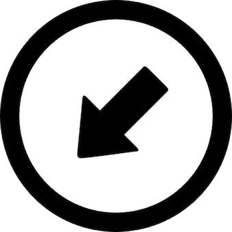 Strzałka w punkcie okręgu w lewo w dół