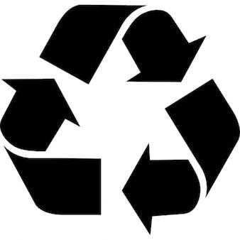 Trójkątne strzałki znak dla recyklingu