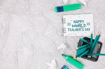 Światowy dzień nauczyciela makieta z książeczką