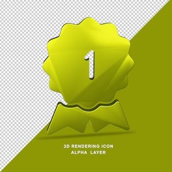 1 liczba gwiazdek złoty kolor renderowania 3d ikona inteligentnego obiektu przezroczysta