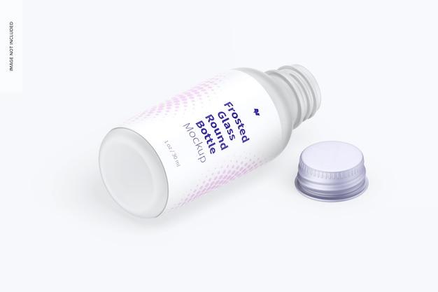 1 uncja makieta okrągłej butelki z matowego szkła, widok izometryczny z prawej strony