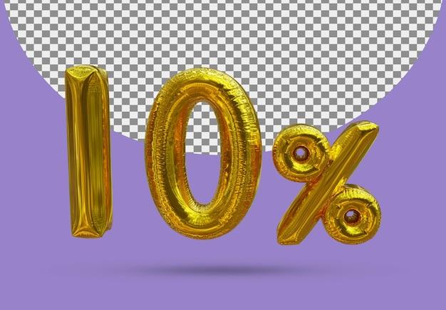 10 procent złoty balon foliowy realistycznego 3d na białym tle
