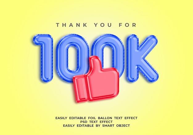 100 000 obserwujących tekst w stylu balonu 3d