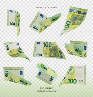 100 banknotów euro pieniądze renderowania 3d