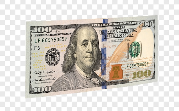 100 dolarów amerykańskich na białym tle