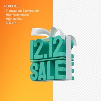 12 grudnia sprzedaż renderowania projektu 3d do promocji sprzedaży z kokardą i wstążką na białym tle