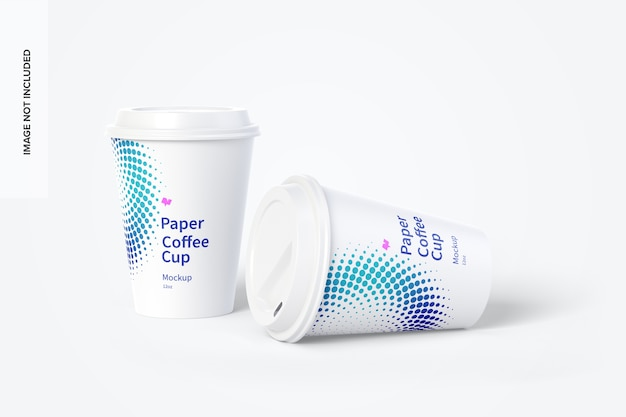 12 uncji papierowych filiżanek do kawy mockup 02