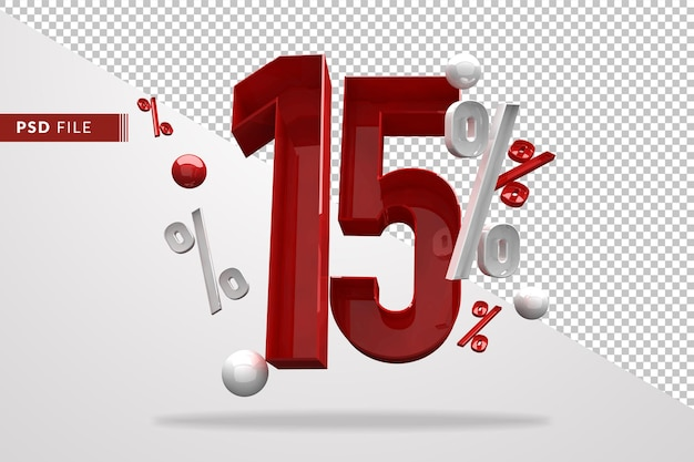 15 procent znak procent 3d numer czerwony, szablon pliku psd