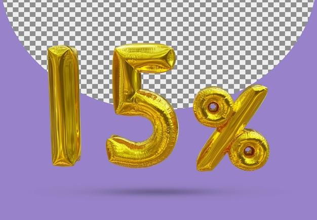 15-procentowy złoty balon foliowy realistycznego 3d na białym tle
