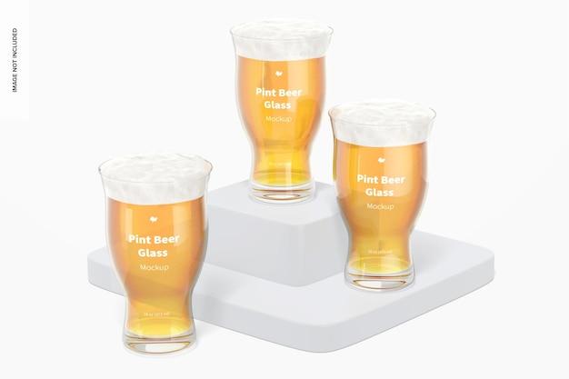 16 uncji pints szklanka piwa makieta, perspektywa
