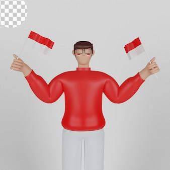 17 sierpnia szczęśliwy dzień niepodległości indonezji z młodym człowiekiem 3d ilustracji postaci. psd premium
