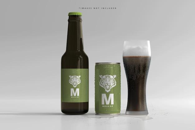 180ml mini soda lub puszka piwa i butelka z makietami kropli wody